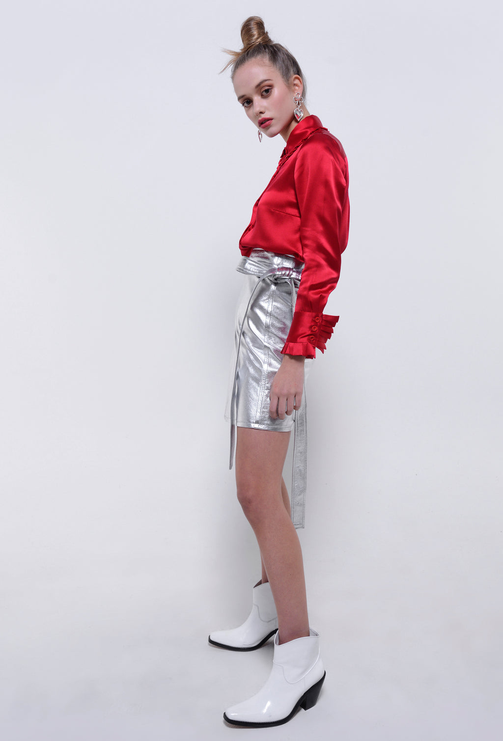 PATENT LEATHER SKIRT SILVER