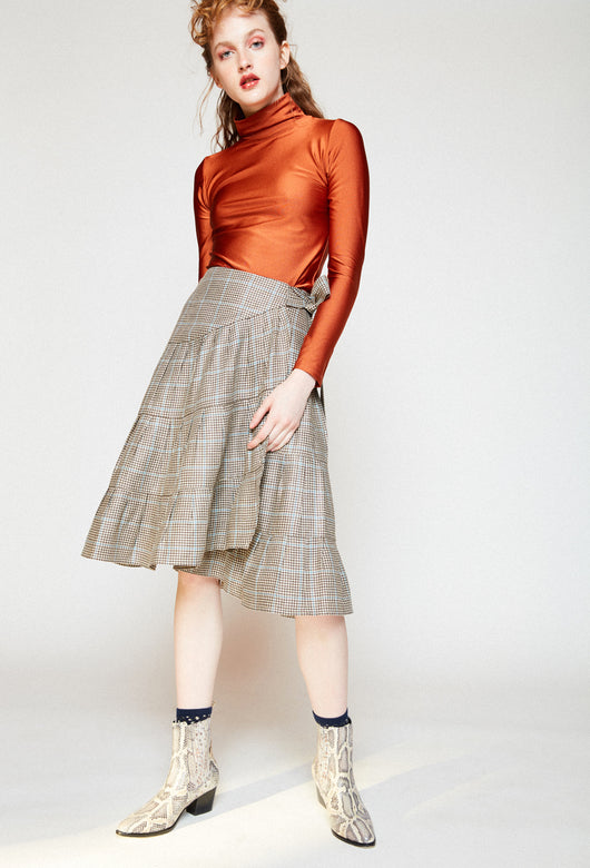 VUELOS BROWN PLAID SKIRT
