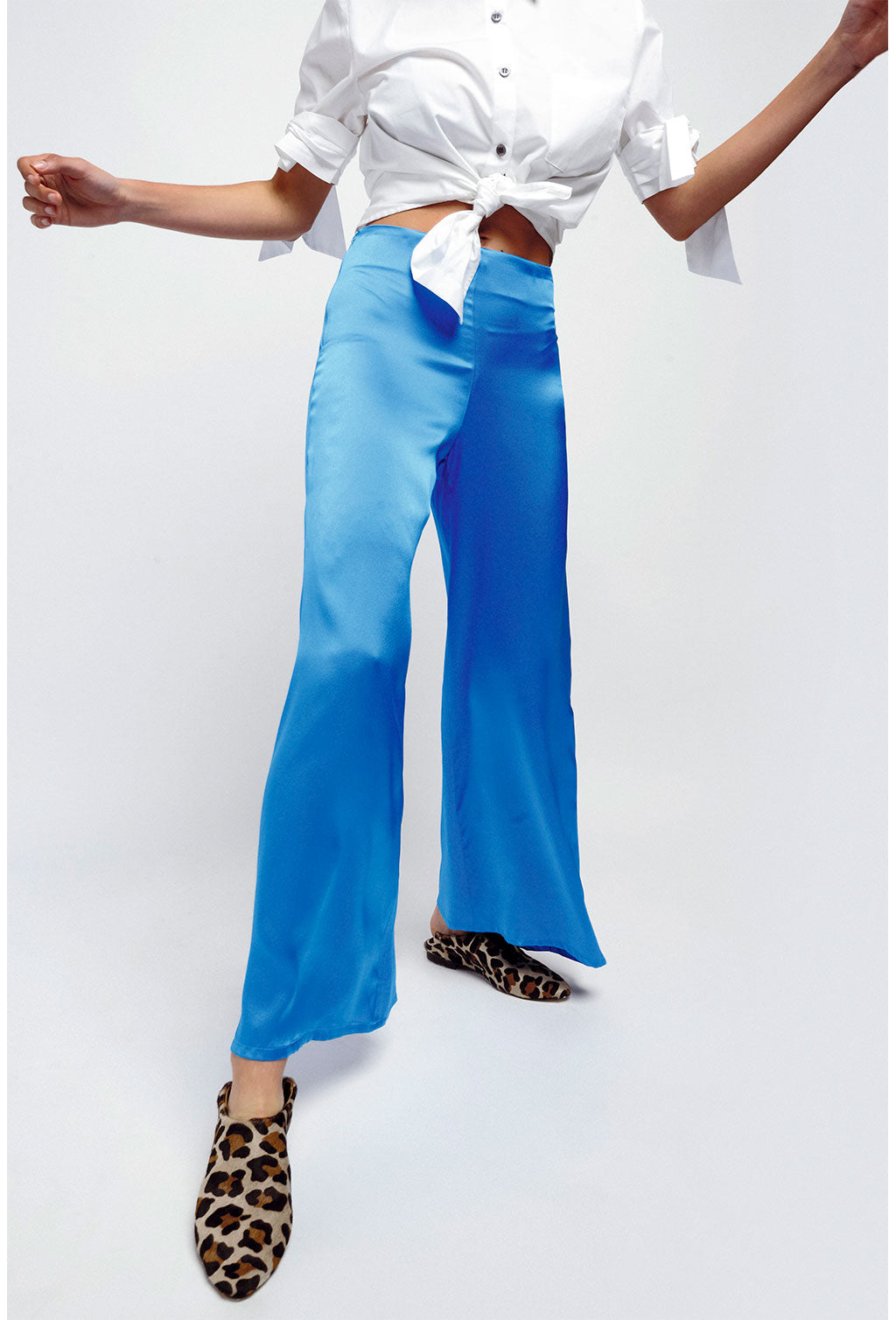 SILK PANTS - BLUE