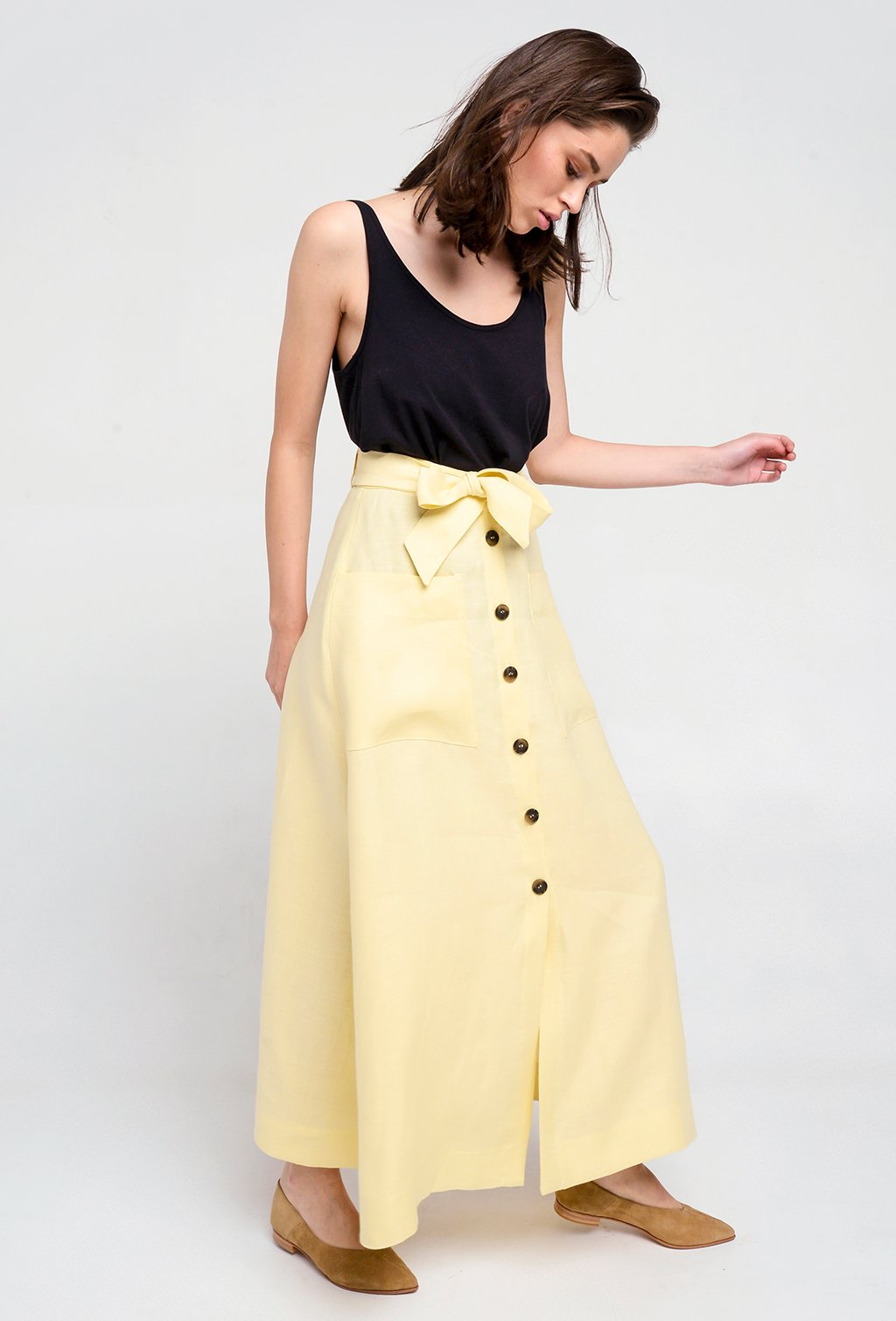 LOU LOU YELLOW LINEN SKIRT