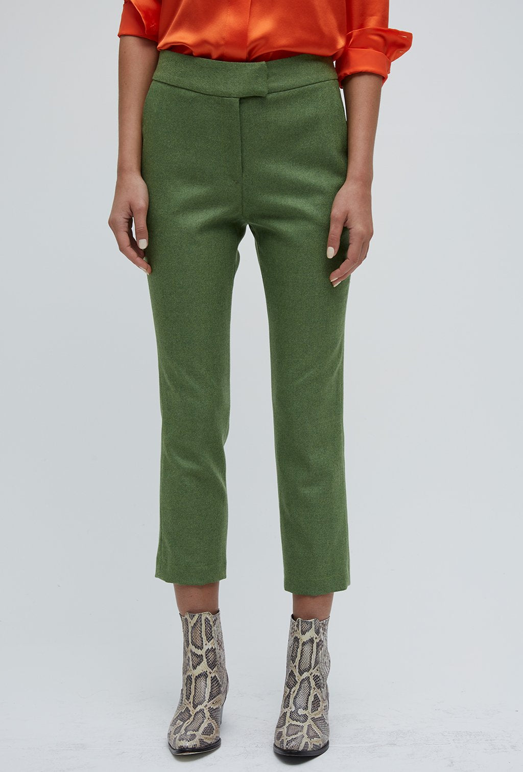 GREEN STRAIGHT TROUSERS