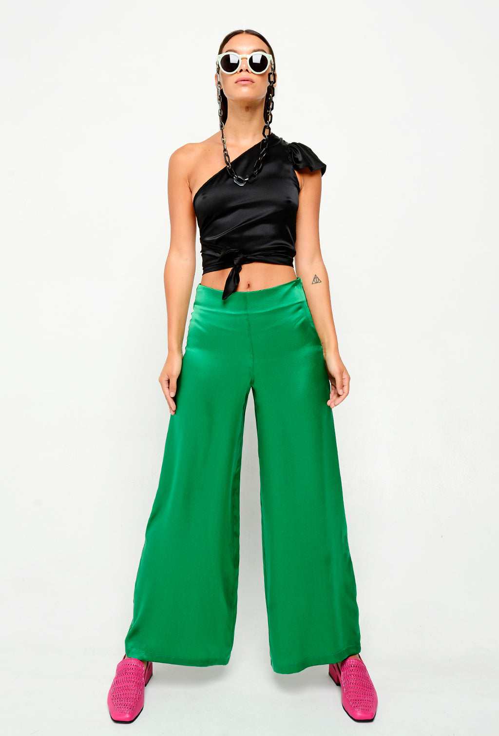SILK PANTS - GREEN