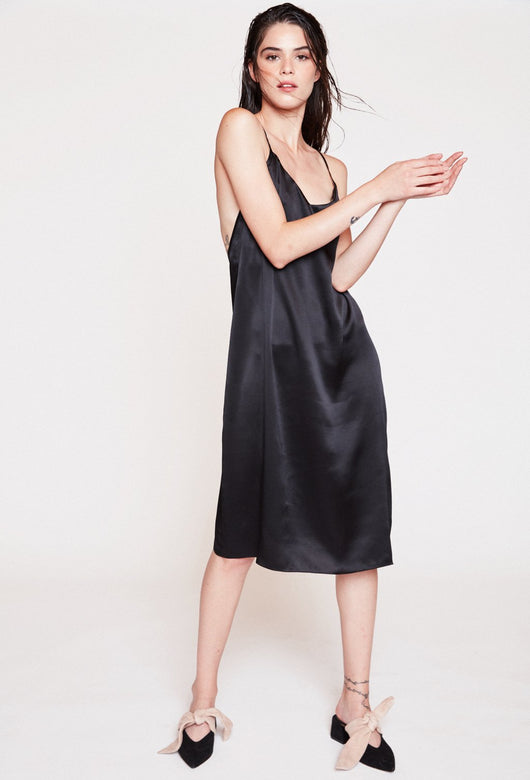 YASMIN BLACK SILK DRESS