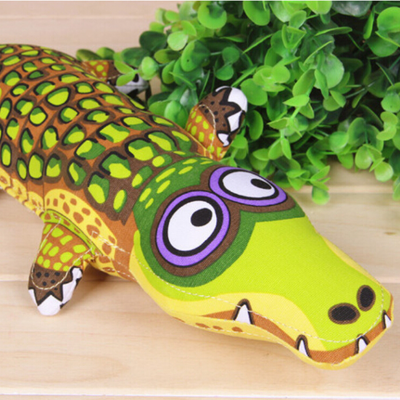 dog toy big durable squeaky green crocodile plush