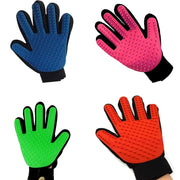 Blue pink green red grooming glove for dogs