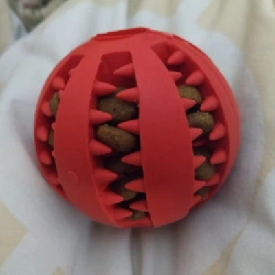 red teeth cleaning chew ball for dogs holding food