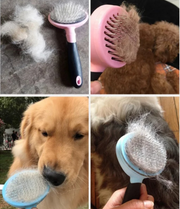 four images showing the effectiveness of the shedding brush for dogs