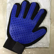 Blue grooming bathing and massage glove for dogs