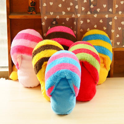 Six slippers that squeak for dogs on display