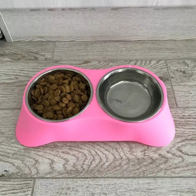 Pink double bowl feeder for dogs