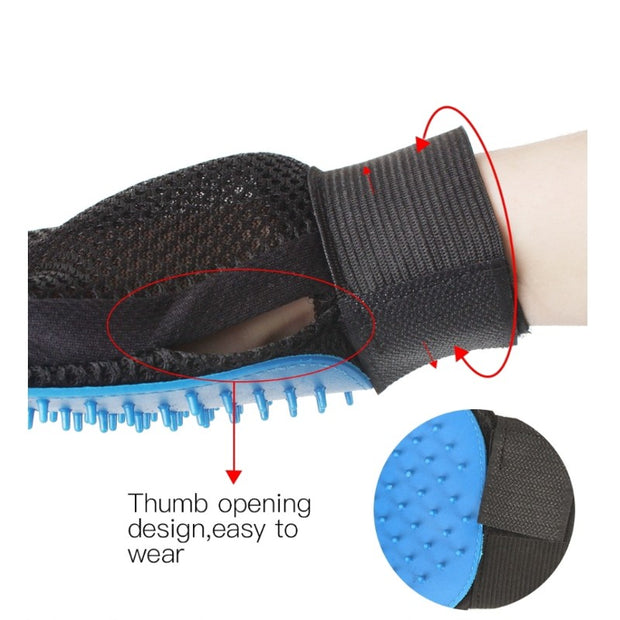 Close up of blue grooming glove for dogs