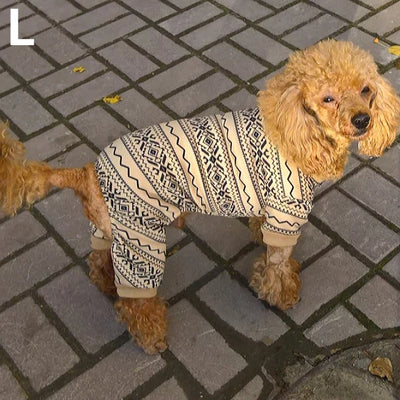 Poodle wearing beige pajamas jumpsuit for dogs