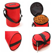 Red waterproof dog food travel bag folded up
