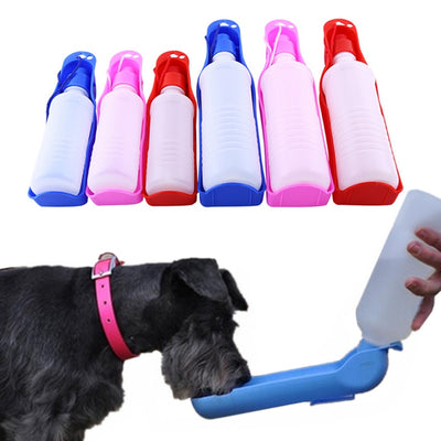 Dog drinking out of travel water dispenser for dog