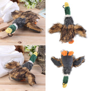 four images showing different angles of the squeaky duck plush toy for dogs
