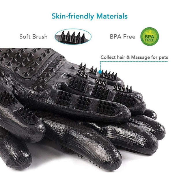 close up of the grooming massage gloves for dogs BPA free
