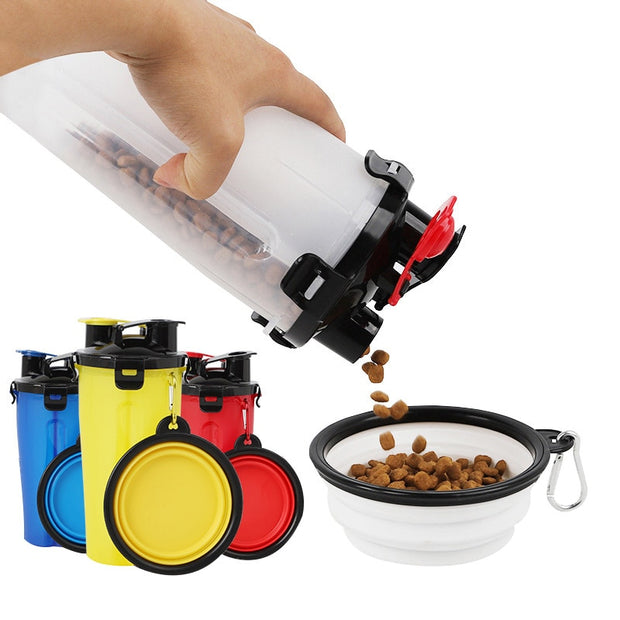 2 in 1 food water bottle pouring food for dog into collapsible bowl
