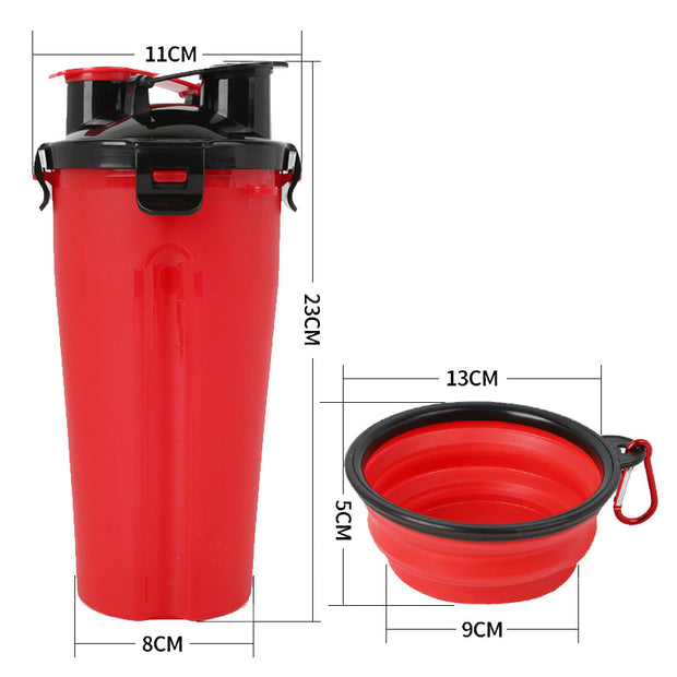 dimensions of red 2 in 1 food water bottle for dog