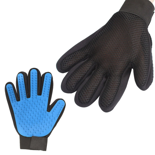 Both sides of blue grooming bathing and massage gloves for dogs