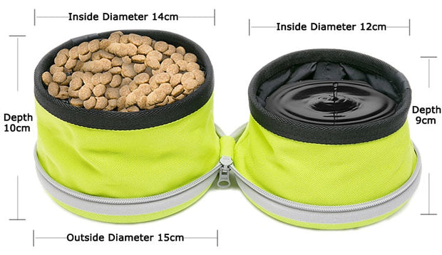 size dimensions for foldable food and water travel bowl for dogs