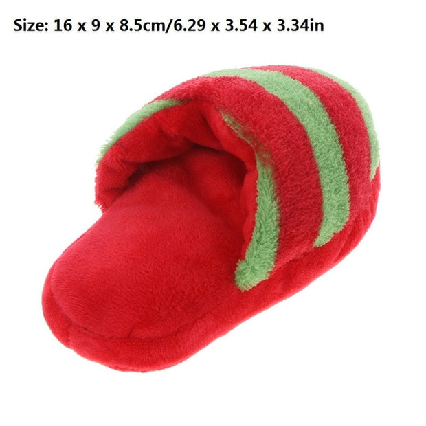 Size dimensions for slippers that squeak dog toy