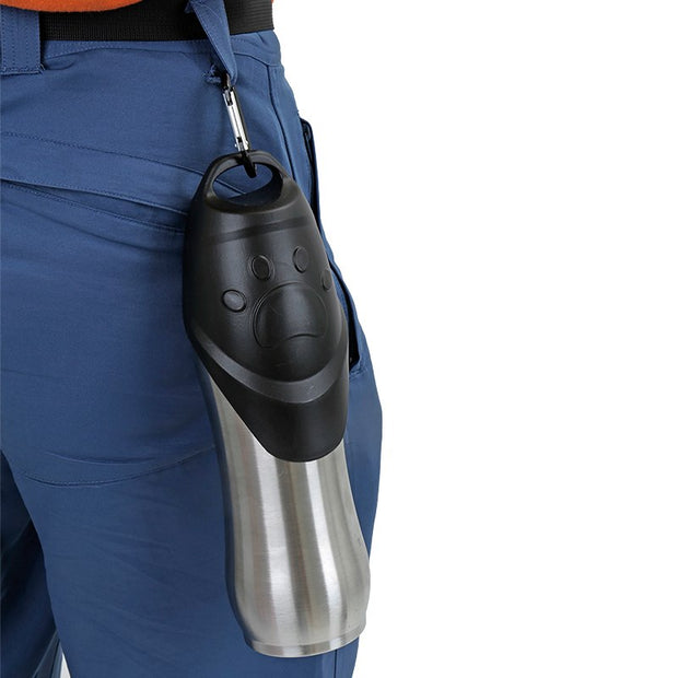 Water bottle for dogs attached to persons waist