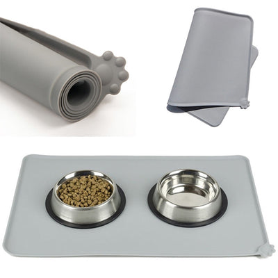 Grey waterproof silicone food mat for dogs