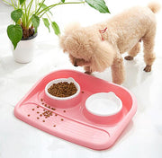 poodle eating out of pink easy clean dual feeder