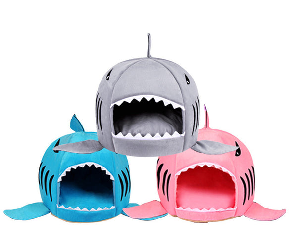 grey blue and pink shark house bed for dogs