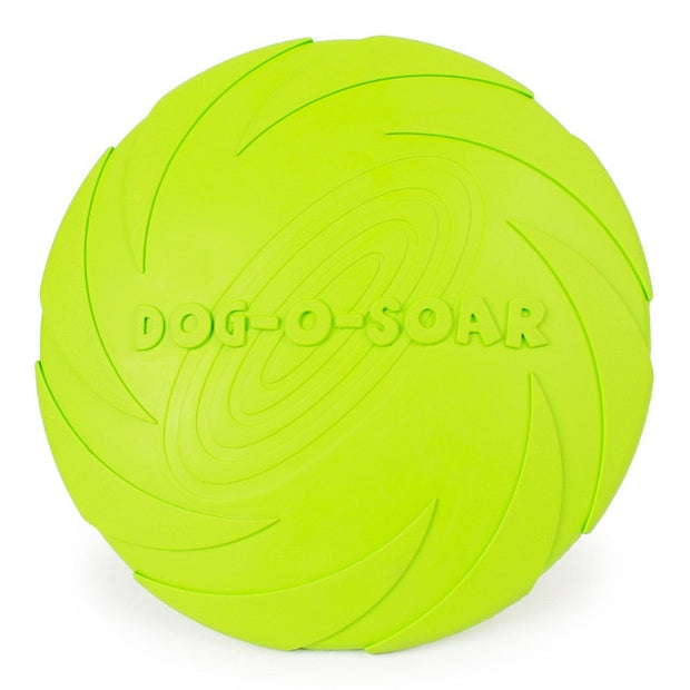 Green rubber dog frisbee toy