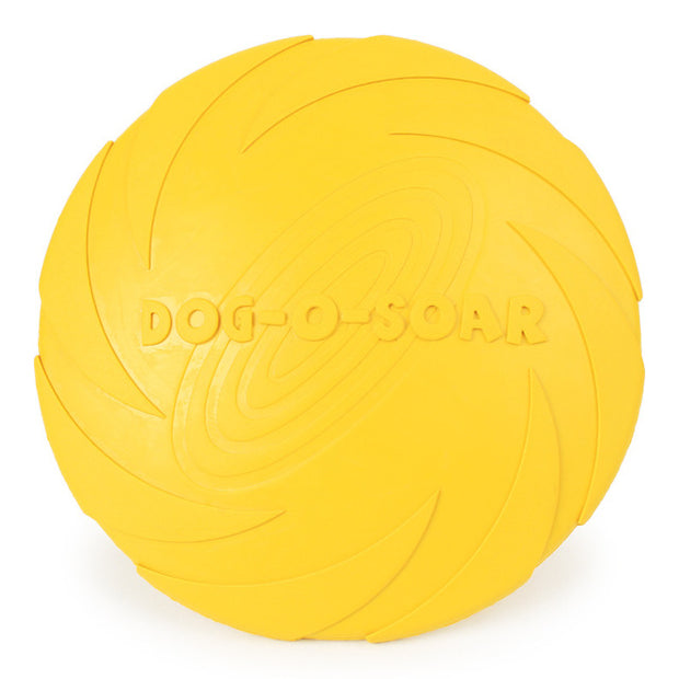 Yellow rubber frisbee for dogs