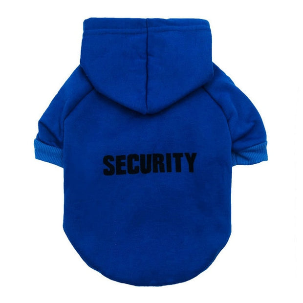 funny blue security hoodie for dogs