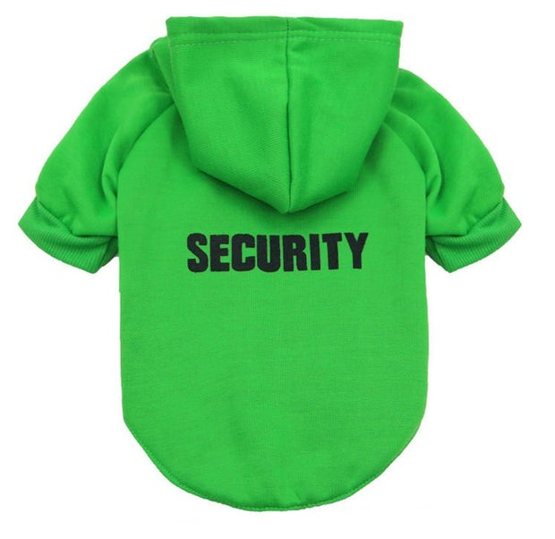 funny green security hoodie for dogs