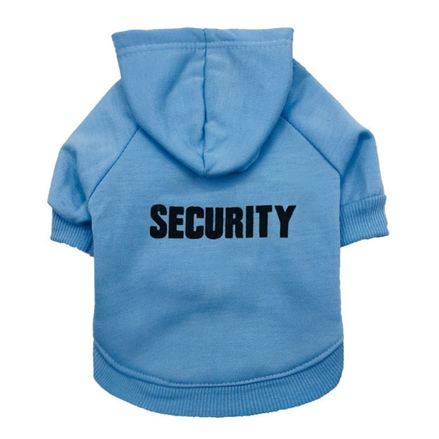 funny light blue security hoodie for dogs