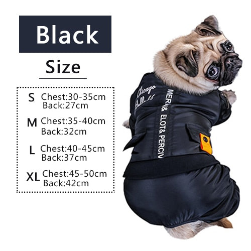 Size chart for warm stylish waterproof  jumpsuit for dogs