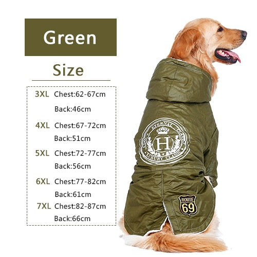 Size chart for winter jacket for dogs
