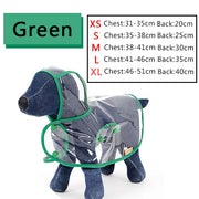 Size chart for raincoat for dogs