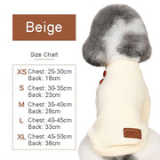 Size chart for cute spring coat for dogs