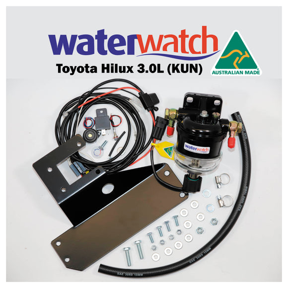 Water Watch kit to protect diesel Toyota Hilux 3.0L (KUN Model).  Included is a Water Watch WW20072 with electronic water detection sensor - 12mm fuel fittings, wiring harness, piezo warning alarm and LED warning light. The Hilux KUN Bracket kit comes complete with mounting bracket, fuel hose, bolts and detailed installation instructions.