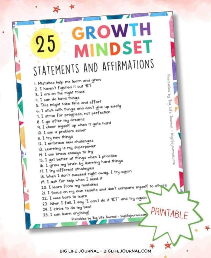Positive Affirmations for Kids printable