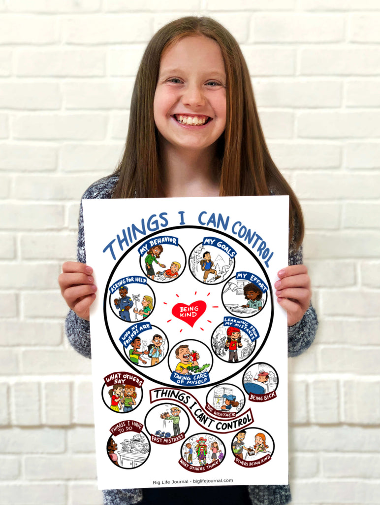 Young girl holds up drawing showing things she can and cannot control