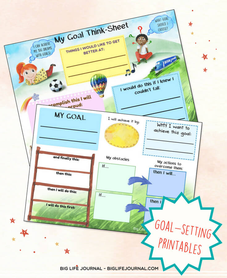 Goal-setting printable worksheet for children (WOOP technique)