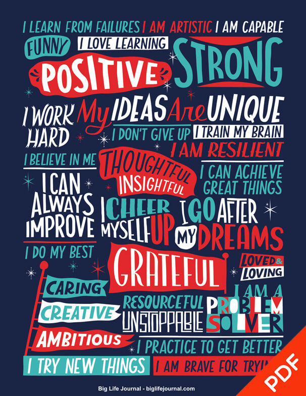 Positive Affirmations Poster For Kids and Teens (PDF) – big-life ...