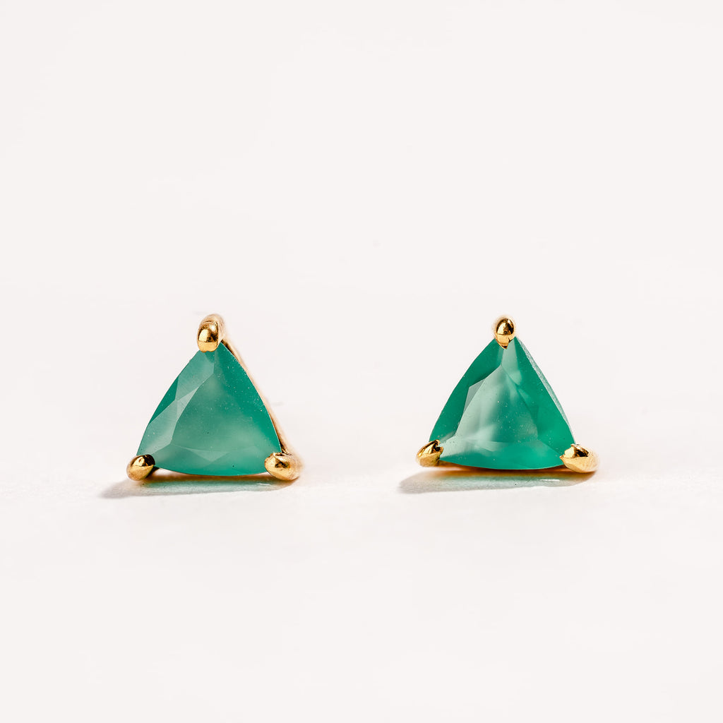 Green Onyx Dainty Triangle