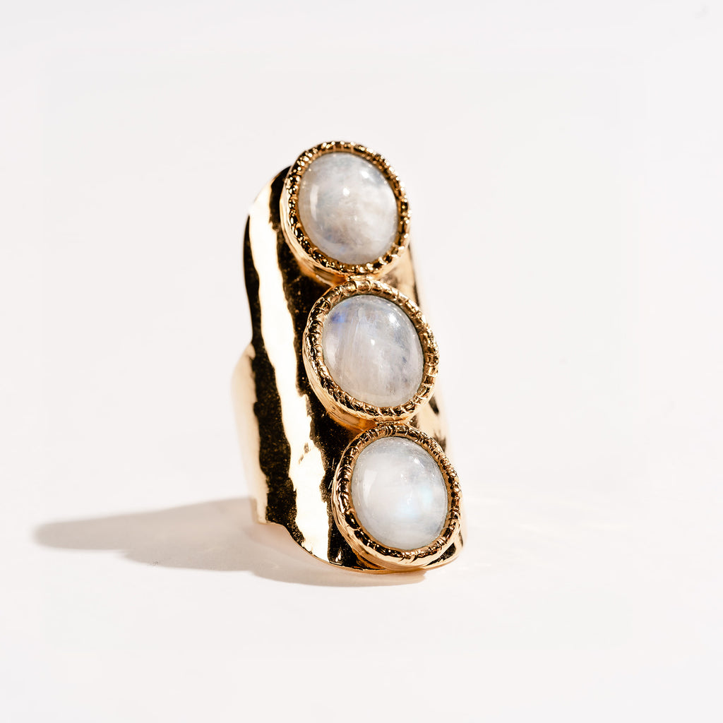 3 Stone Oval Rainbow Moonstone Signature Ring