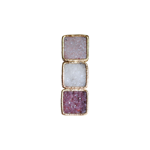 3 Stone Ombre Square Ring