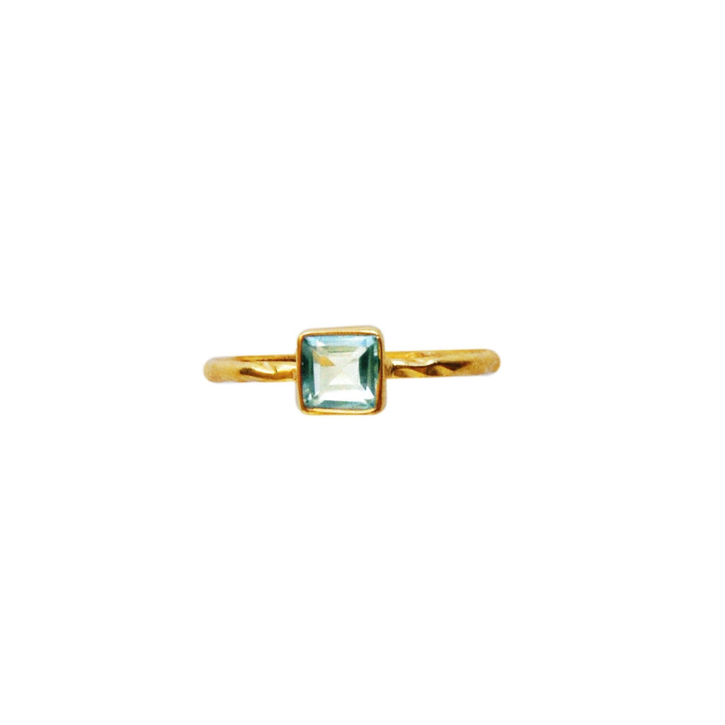 Aquamarine Dainty Square Rings