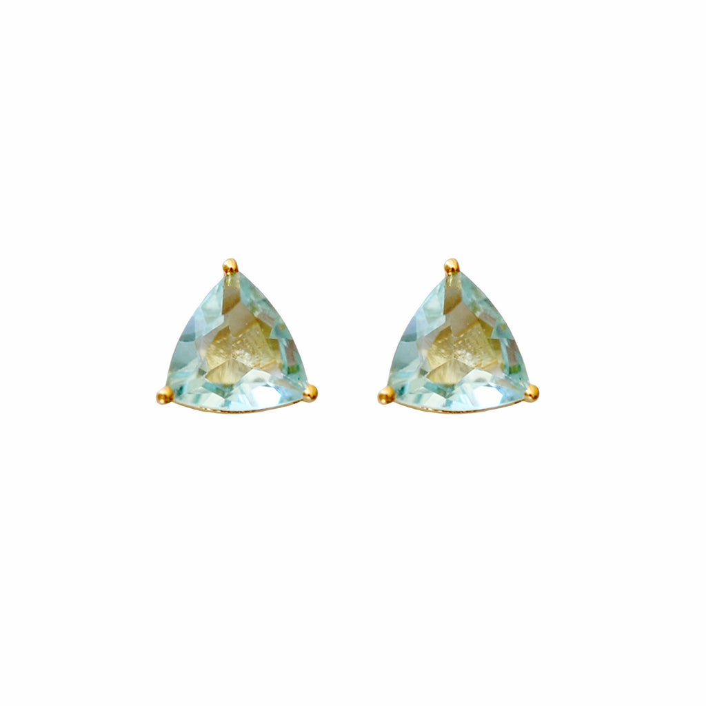 Aquamarine Triangle Studs