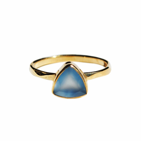 Blue Chalcedony Triangle Ring