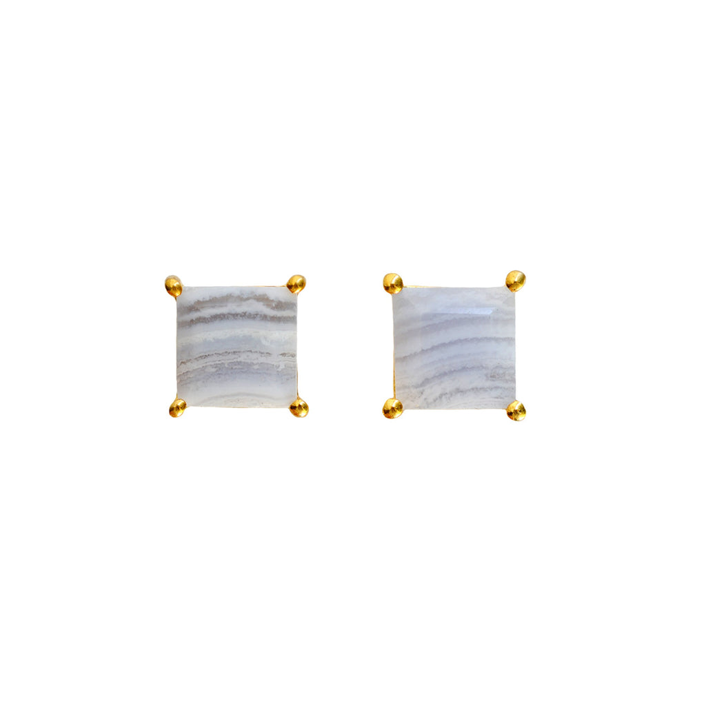 Blue Lace Agate Square Studs